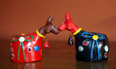 Colorful clay bulls — Stock Photo