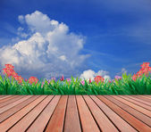 Wood terrace and flower garden — Fotografia Stock
