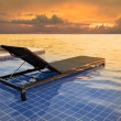 Pool bed and dusky sky sun set — Stock Photo