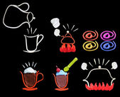 Colorful of clay sculpture art as icon for coffee shop — Stock Photo