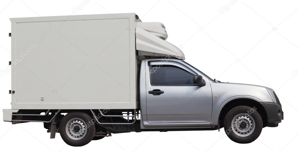 Truck van with cool container isolated white — Stock Photo #19012855