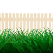 Wooden fence and green grass leaves   — ストック写真