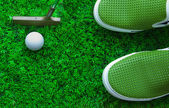 Golf ball and green grass with equipment — Stock Photo
