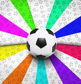 Fútbol en fondo colorido ray — Foto de Stock