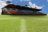 Green grass and football sport stadium — Stock Photo