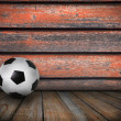 Soccer football on colorful ray background  — Стоковая фотография