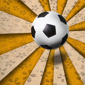 Soccer football on colorful ray background — Stockfoto