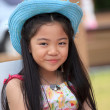 Beautiful asian girl in a hat on her head smiling — Stock Photo #19195301