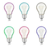 Mixed color of light bulb on white background — Stock Photo