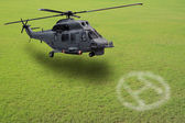 Helicopter lands on green field — Stock Photo