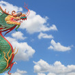 Face of chinese dragon with blue sky — Stock Photo