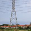 Stock Photo: High voltage wire tower