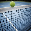 Tennes ball over black net — Stock Photo #19685517