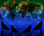 Satelite dish and world map on blue color theme — Stock Photo