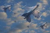 Реактивные самолеты летать на небо для войны тема — Стоковое фото