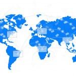 White envelope on blue world map — Stock Photo #21472147