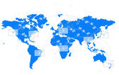 White envelope on blue world map — Stock Photo