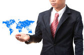 Business man and hand holding world map of data and information — Stock Photo