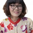 Close up face of forty years old asian woman wearing eyes glass — Stock Photo