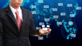 Business man holding data and information in hand — Stock Photo