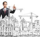 Dibujo de construcción y moderno edificio — Foto de Stock