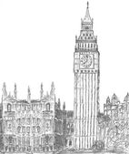 Sketching of big ben london landmark — Stock Photo