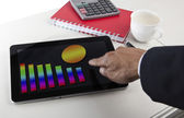 Business graph report on tablet screen monitor — Stock Photo