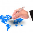 Hand writing letter on word map — Stock Photo #23387004