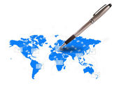 Pen writing letter on world map — Stock Photo