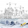 Sketching of modern building construction and plan document fore — Stock Photo