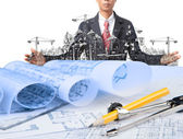 Industry construction and business man — Stock Photo