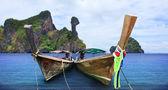 Andaman long tailed boat southern of thailand and koh kai island — Stock Photo