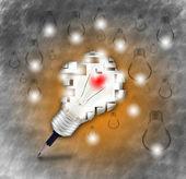 铅笔和灯泡标志为新的想法和创意, — 图库照片