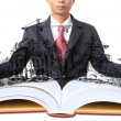 Man and open book with building construction on white — Stock Photo