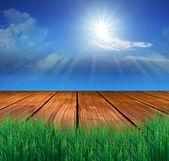 Wood terrace and sun shining — Stock Photo