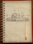 Esboçar a idéia para a construção civil no caderno — Foto Stock