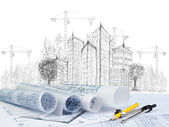 зарисовка строительство современного здания и план документа — Стоковое фото