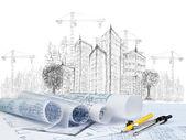 Dibujo de la construcción de modernos edificios y documento del plan — Foto de Stock