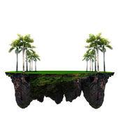 Palmeira e campo de grama verde na ilha flutuante uso para fundo multiuso — Foto Stock