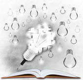 Pencil and light bulb symbol for new idea and creative, — Stock Photo