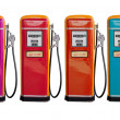 Stock Photo: Several color of old classic oil distributor in gasoline station
