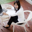 Working woman working  outdoor her office place — Stock Photo