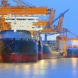 Panorama scene of ship yard with heavy crane in beautiful twilig — Stock Photo #27614673