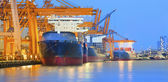 Panorama scene of ship yard with heavy crane in beautiful twilig — Stock Photo
