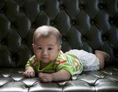 Bébé couché sur le canapé lit yeux contact pour appareil photo — Photo