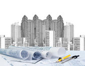 Sketching of modern building and plan blueprint — Stock Photo