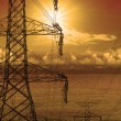 High volt electric pole dusky time — Stock Photo