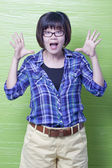 Asian woman gesturing with her hands — Stock Photo