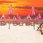 Wood chair beach on sea side with dusky sky background — Stock Photo