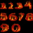 Fire burning on arabic number zero to nine use for multipurpose — Stock Photo #29635965
